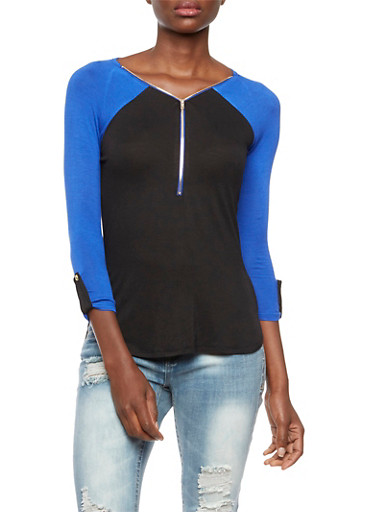 Jersey High-Low Top Featuring a Front Zip,BLACK/ROYAL,large