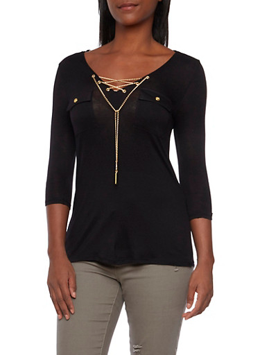 Knit Top with Jeweled Lace Up Neckline,BLACK,large