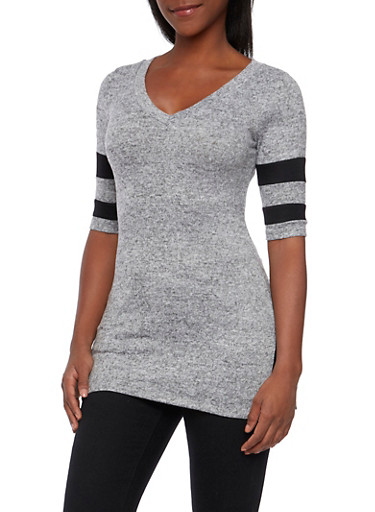 Heathered Top with Athletic Stripe Accents,HEATHER/BLK,large