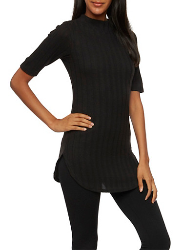 Ribbed Top with Mock Neck,BLACK,large