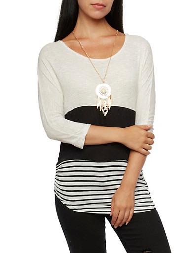 Color Block Top with Removable Necklace,OATMEAL/BLK,large