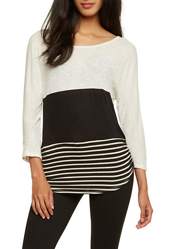 Color Block Top with Stripes,OATMEAL/BLK,large