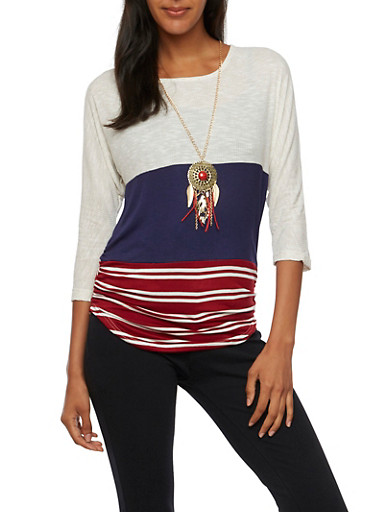 Color Block Top in Stripes,OATMEAL/BURG,large