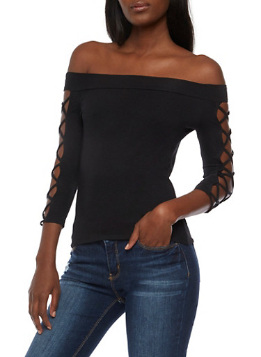 Off the Shoulder Top with Caged Sleeves,BLACK,large