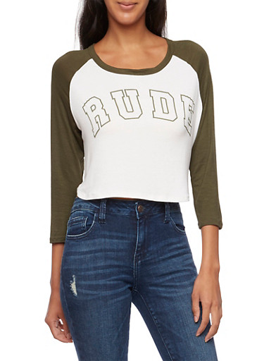 Graphic Crop Top with Rude Print,IVY/OLIVE,large