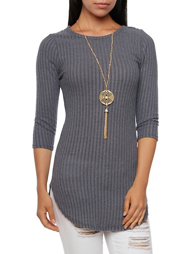 Ribbed Tunic Top with Necklace,HEATHER,large