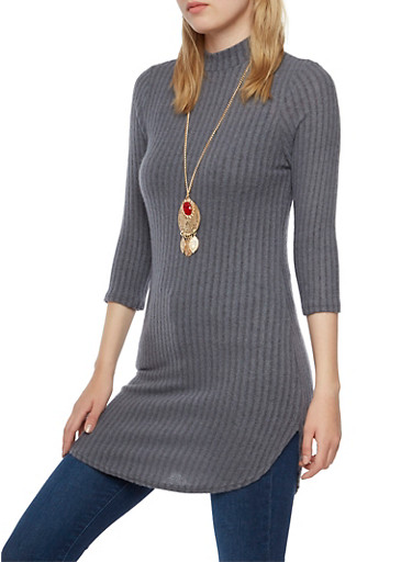 Mock Neck Knit Tunic Top with Gem Pendant Necklace,HEATHER,large