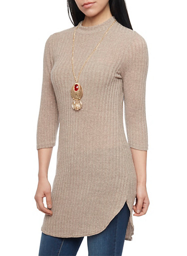 Mock Neck Knit Tunic Top with Gem Pendant Necklace,BURNT SIENNA,large