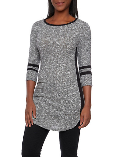 Marled Tunic Top with Athletic Stripe Accents,HEATHER,large