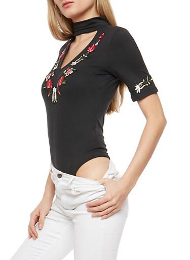 Floral Patches Keyhole Bodysuit,BLACK,large