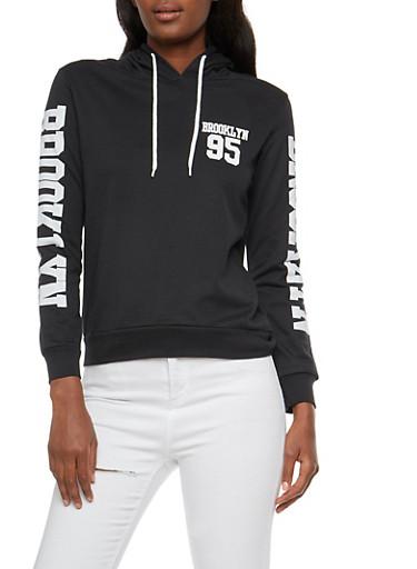 Brooklyn Graphic Hooded Sweatshirt,BLACK,large