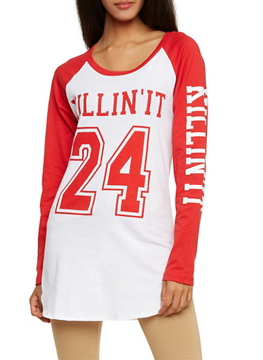 Graphic Top with Killin It 24 Print,WHITE/RED,large