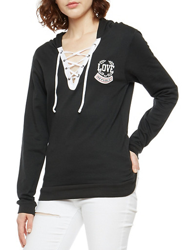 Lace Up Love Graphic Hoodie,BLACK,large