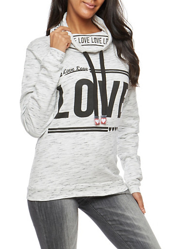 Love Graphic Funnel Neck Fleece Sweatshirt,OATMEAL MELANGE,large