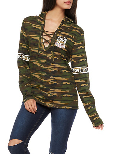 Long Sleeve Camo Graphic Lace Up Hooded Top,OLIVE,large