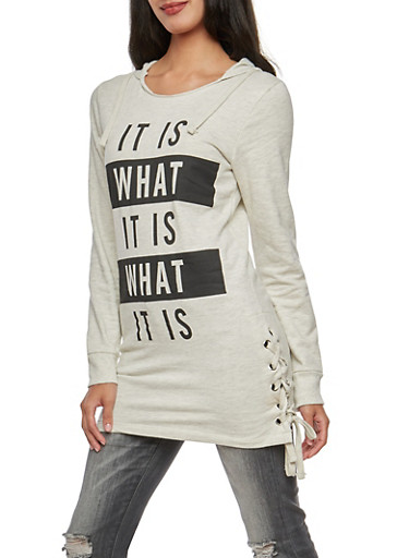 It Is What It Is Graphic Tunic Hoodie,OATMEAL,large