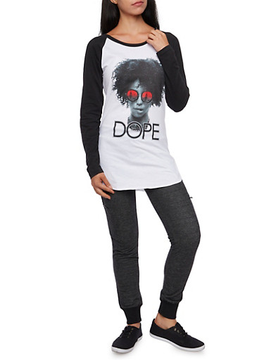 Color Block Tunic Top with Dope Model Graphic,WHT-BLK,large