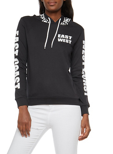 East West Graphic Hooded Sweatshirt,BLACK,large