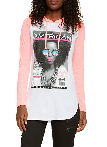 Hooded Tunic Top with Magazine Graphic,WHITE/NEON PINK,large