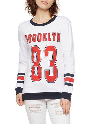 Varsity Ringer Top with Brooklyn 83 Graphic,WHITE/NAVY/RED,large