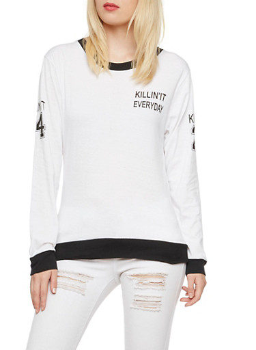Long Sleeve Top with Killin It Print,WHT-BLK,large