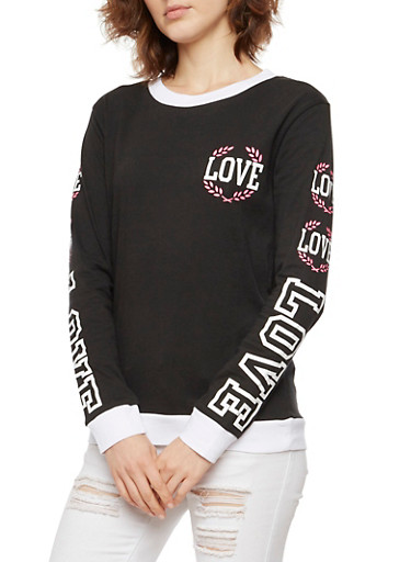 Long Sleeve Ringer Top with Love Graphics,BLACK/WHITE,large