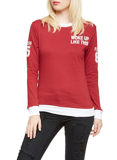 Long Sleeve Top with Woke Up Flawless Print,WINE/WHT,large