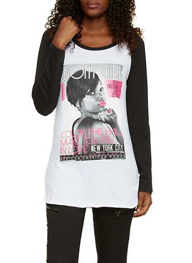 Raglan Top with Magazine Cover Graphic,WHT-BLK,large