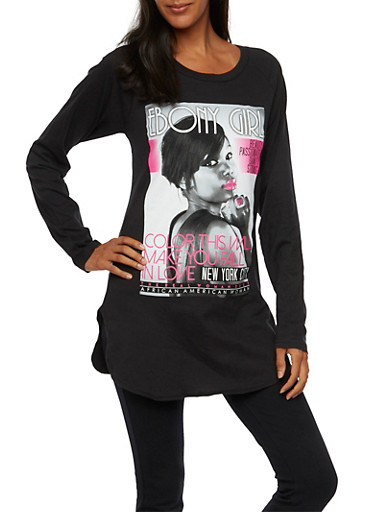 Long Sleeve Tunic Top with Magazine Cover Print,BLACK,large