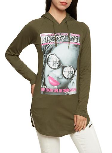 Hooded Tunic Top with Ebony Girl Magazine Print,OLIVE,large