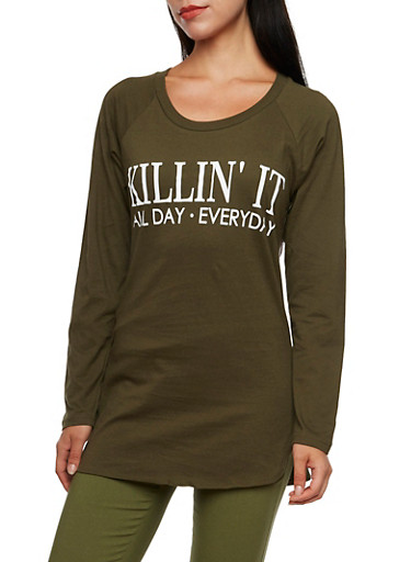 Tunic Top with Killin It All Day Everyday Graphic,OLIVE,large