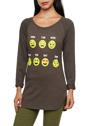 Tunic Top with Days of the Week Emoji Graphic,CHARCOAL,large