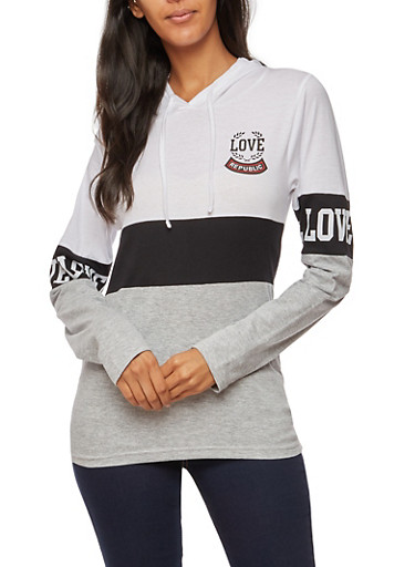 Long Sleeve Love Republic Graphic Hooded Top,WHT/BLK/HTHR,large