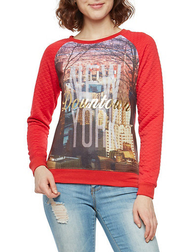 Downtown New York Graphic Sweatshirt,RED,large