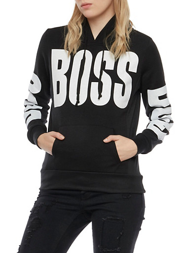 Graphic Hoodie with Boss Print,BLACK,large