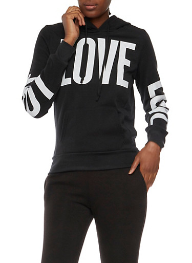 Fleece Lined Hoodie with Love Graphics,BLACK,large