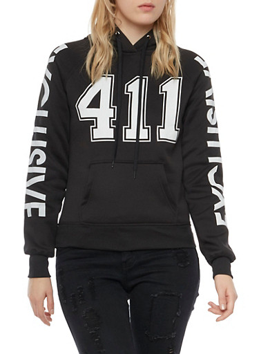Graphic Hoodie with 411 and Exclusive Prints,BLACK,large