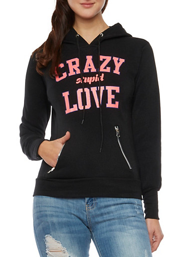 Hoodie with Crazy Stupid Love Graphic,BLACK,large