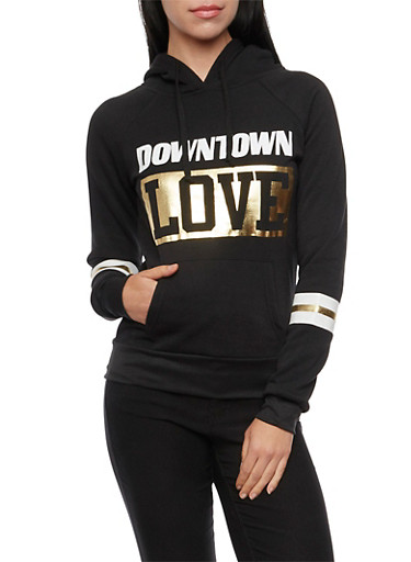 Fleece Hoodie with Downtown Love Print,BLACK,large