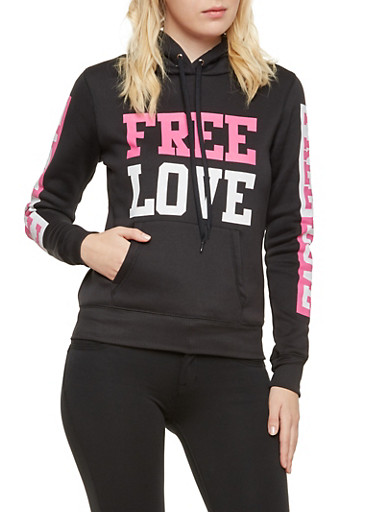 Fleece Hoodie with Free Love Graphic,BLACK,large