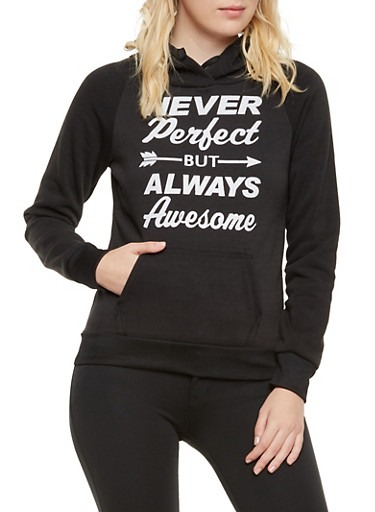 Fleece Hoodie with Never Perfect Graphic,BLACK,large