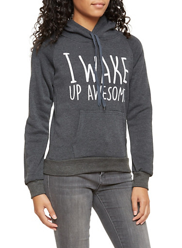 Fleece Sweatshirt with I Wake Up Awesome Print,CHARCOAL,large