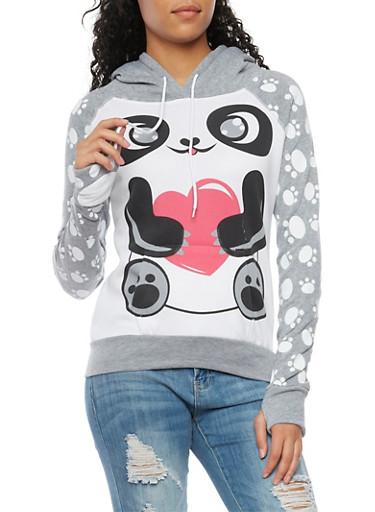 Graphic Hoodie with Panda Print,HEATHER,large