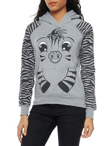 Fleece Hoodie with Zebra Design,HEATHER,large