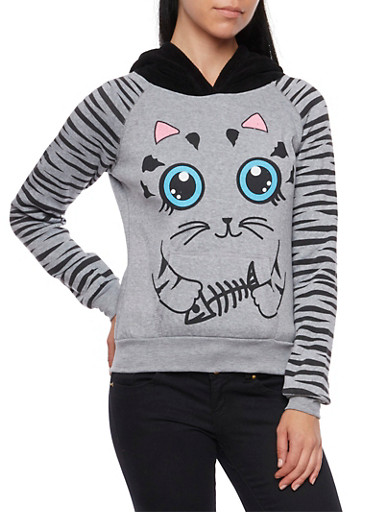 Graphic Hoodie with Cat Print,HEATHER,large