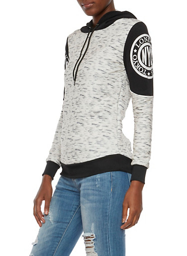 Quilted Hoodie with NYC Graphics,BLK/GREY,large