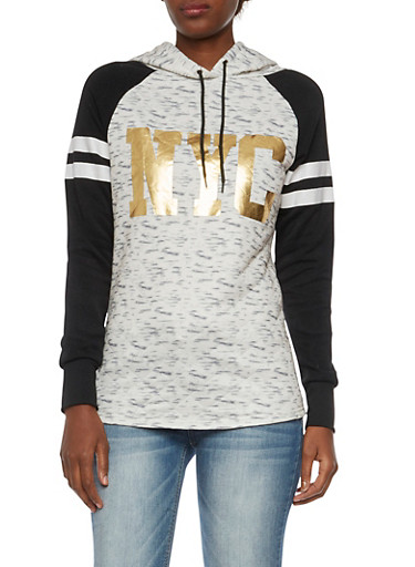 Quilted Hoodie with NYC Graphic,BLK/GREY,large