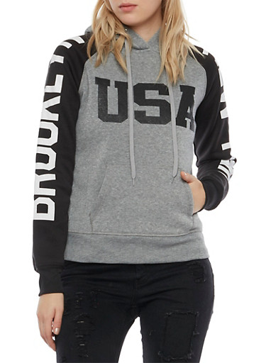Graphic Color Block Hoodie with Brooklyn New York USA Prints,GREY/BLK,large