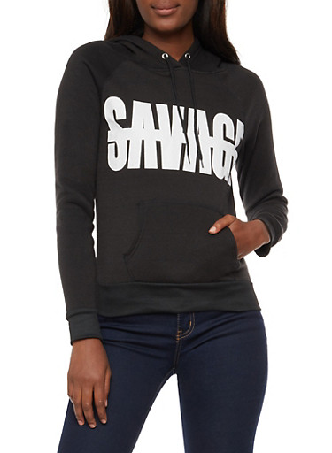 Long Sleeve Savage Graphic Hooded Sweatshirt,BLACK,large