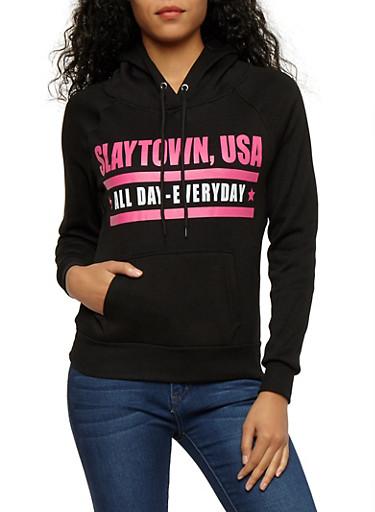 Long Sleeve Hooded Graphic Swaetshirt,BLACK,large